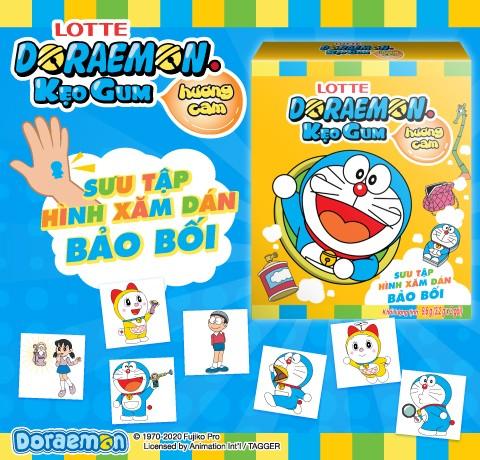 Doraemon bubble gum with tattoo sticker.
